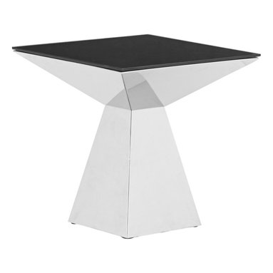 """Zuo - Zuo Tyrell Stainless Steel and Black Glass Coffee Table - Add a touch of elegance to your home decor with this modern coffee table. A square black painted tempered glass top sits on a sculptural stainless steel base. A contemporary classic design from Zuo Modern. Black painted tempered glass top. Stainless steel bottom. 22"""" high. Table top is 22"""" wide and 22"""" deep. Base is 12"""" wide.  Black painted tempered glass top.   Stainless steel bottom.   Some assembly required.  22"""" high.   Table top is 22"""" wide and 22"""" deep.   Base is 12"""" wide."""