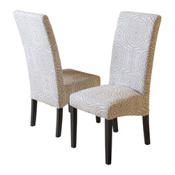 Great Deal Furniture - India Geometric Fabric Dining Chairs (Set of 2), Black - The India Dining Chairs are a perfect set to bring together any space in your home. They compliment almost any decor and even double as extra seating. These chairs will satisfy for years to come by offering comfort, style, and durability.