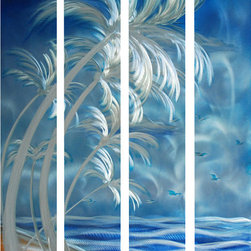 Pure Art - Palm Beach Excursion Aluminum Wall Art Set of 4 - Get lost in the blue mist that envelops this uniquely alluring Palm Beach Excursion Aluminum Wall Art Set of 4. Capture the imaginations of all your family and friends as they gaze wide eyed into your stylish metal wall art piece. Set the mood of serenity in your busy office or inside the seclusion of your bedroom. Fantasies are sure to be released each time an eye is chained to the deep details of this tempting masterpiece. A great focal point for the foyer of your home or business space. Add to your tasteful decor for powerful enhancement.Made with top grade aluminum material and handcrafted with the use of special colors, it is a very appealing piece that sticks out with its genuine glow. Easy to hang and clean.