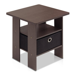 Furinno - Furinno 11157 Petite End Table, Dark Brown/Black - These models are designed to fit in your space, style and fit on your budget.  The main material,  Particleboard, is made from recycled materials of rubber trees, eco-friendly. All the materials are manufactured in Malaysia and comply with the green rules of production. There is no foul smell, durable and the material is the most stable amongst the particleboards. A simple attitude towards lifestyle is reflected directly on the design of Furinno Furniture, creating a trend of simply nature. All the products are produced and packed 100-percent in Malaysia with 90% - 95% recycled materials.  Care instructions: wipe clean with clean damped cloth. Avoid using harsh chemicals.  Pictures are for illustration purpose. All decor items are not included in this offer.