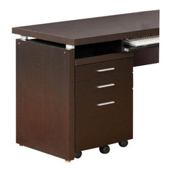 "Coaster - Mobile Pedestal (Cappuccino) By Coaster - Three drawers. Sleek finish and clean lines. 18"" W x 17.75"" D x 25.37 "" H. Warranty"