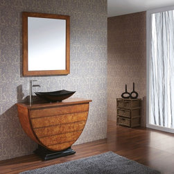 Avanity LEGACY 40 x 19 Vanity V40-BU - The Legacy Collection has a unique design that offers a Maple Burl Veneer over solid birch framed construction. This Vanity can be used with most vessels and comes with an undrilled top. This allows you the choice to use this piece of furniture as an accent to any room. It also has 3 drawers for lot's of storage. Coordinating Mirror completes the set and can be hung vertical or horizontal to suit your needs.