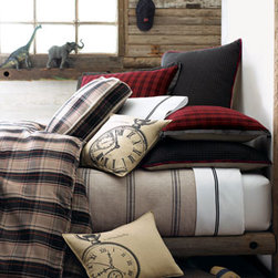 """French Laundry Home-""""Kent"""" Bed Linens - Plaids and stripes are a perfect combination in this classic set of bed linens by French Laundry Home.  Tailored gray striped dust skirts have an 18"""" drop."""