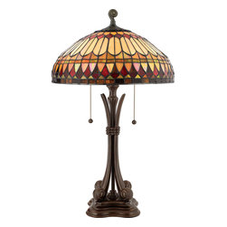 Quoizel - Quoizel TF6660BB Tiffany 2 Light Table Lamps in Brushed Bullion - Long Description: This earthy style is a great way to bring the drama of Tiffany art glass into a more rustic or contemporary room setting. The hand-cut, iridescent art glass is arranged in a soft geometric pattern, and features the rich color palette of an Indian summer. Simply breathtaking.