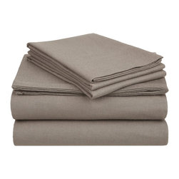 Flannel Sheet Solid - Twin XL - Grey - Our Flannel Sheets are made from premium quality cotton. The flannel is also thoroughly brushed in order to ensure optimal softness and comfort. Set includes One Flat Sheet 66X100, One Fitted Sheet 39X80, One Pillowcase 20x30.