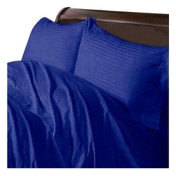 Hothaat - 400TC Stripe Egyptian Blue Twin XL Fitted Sheet & 2 Pillowcases - Redefine your everyday elegance with these luxuriously super soft Fitted Sheet. This is 100% Egyptian Cotton Superior quality Fitted Sheet that are truly worthy of a classy and elegant look.
