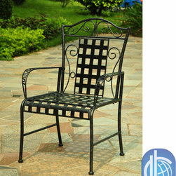 International Caravan - International Caravan Lattice Outdoor Iron Black Dining Chairs (Set of 2) - Add the elegance of a bygone era to your porch,deck,or patio with this stylish lightweight metal lawn chair pair. This set of two lawn chairs is crafted from premium wrought iron and feature an intricate lattice design on the seat and back.