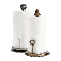Victorian Paper Towel Holder - Designed to be beautiful and easy to use, you'll only need one hand to pull a paper towel from these heavy, brass paper towel holders.  Beautifully detailed, you'll love displaying them front and center atop your kitchen counter.