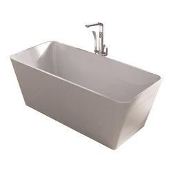ADM - White Stand Alone Resin Bathtub, White, Medium - SW-103