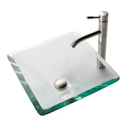 Kraus - Kraus Clear Aquamarine Glass Vessel Sink and Aldo Stainless Steel Faucet - *Add a touch of elegance to your bathroom with a glass sink combo from Kraus