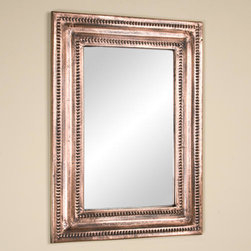 Rectangular Lightly Hammered Copper Mirror - Antique Copper - Featuring a rustic, lightly hammered rim, this Antique Copper mirror will add both style and sophistication to your home. Mirror can be mounted vertically or horizontally.