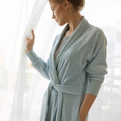 Grandin Road - Organic Cotton Velour Robe - Ultra soft cotton velour bath robe with elastic cuffs. Slim design with a gathered back and attached sash. Made from 80% organic cotton, 20% polyester. Machine wash with like colors, gentle cycle; do not bleach. Tumble dry low. Enjoy an elegant home spa experience with all the comfort of your favorite sweatshirt when you wrap up in the slim design of this organic cotton velour bath robe. The ultra soft velvety texture, elasticized cuffs and an attached sash make it a great addition to your daily routine - cozy up by the fire, or slip it on after a shower or a soak in the tub. Select your favorite color, add one to the guest bath or give one as a gift.. . . . . Imported.