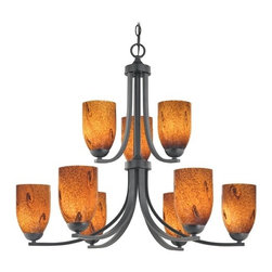 Design Classics Lighting - Modern Chandelier with Brown Art Glass in Matte Black Finish - 586-07 GL1001D - Contemporary / modern matte black 9-light chandelier. Takes (9) 100-watt incandescent A19 bulb(s). Bulb(s) sold separately. UL listed. Dry location rated.