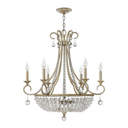 Frederick Ramond - Fredrick Ramond Caspia 9-Light Chandelier - This chic classic crystal design in a luxurious Silver Leaf finish features strands of whimsical crystals in graduating sizes.