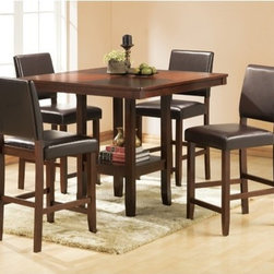 Welton - Alford 5 Piece Counter Height Dining Set - The classic contemporary style of the Alford'' is a wonderful counter high dining set for a any home. The lovely espresso table features a quarter matched veneered top and a decorative shelf at the base. The counter high chairs are upholstered in a chocolate brown faux leather polyurethane. Add a touch of classic beauty to your home with the Alford'', exclusively from Welton USA.'' Features: -Protective coating resist mars and scratches.-Counter height table has a display shelf.-3'' padded high density foam seats.-Web seat support for durability and comfort.-Heavy duty stretchers for added strength and durability.-Stools have protective floor glides.-Set includes counter height table and 4 dining chairs.-Chairs are upholstered in a chocolate brown faux leather polyurethane.-Wood and wood veneers constructions.-Espresso finish.-Alford collection.-Collection: Alford.-Distressed: No.Dimensions: -Dining Table Dimensions: 36.25'' H x 42'' W x 42'' D.-Dining Chair Dimensions: 40'' H x 17.5'' W x 20.5'' D.