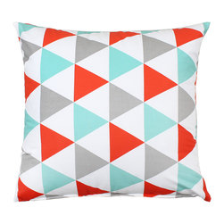 """LaCozi - """"Becca"""" Aqua & Coral Throw Pillow, 20""""x20"""" - - Mint blue, coral red, gray triangle patterned (Insert included)"""