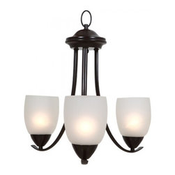 YOSEMITE HOME DECOR - 3 Lights Chandelier with White Etched glass - -  Oil Rubed Bronze Finish with White Etched Glass/Shade