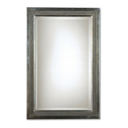 Uttermost Triple Beaded Vanity Mirror - 23W x 35H in. - The classic clean lines of the Triple-Beaded Vanity Mirror are offset by its antique look and feel. The mirror frame is crafted from resin and features a silver-leaf finish with a light gray glaze and beaded accents. For added elegance the mirror has a lovely beveled edge.