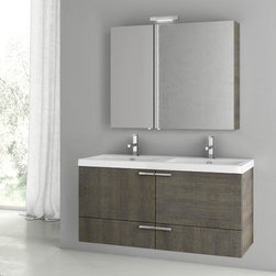 ACF - 47 Inch Grey Oak Bathroom Vanity Set - A sensible option for a quality or contemporary personal bath, this wall mount bathroom vanity is the perfect option. Made in and imported from italy with very high quality engineered wood and mirrored glass and ceramic and available in grey oak, this bat
