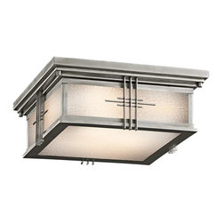 Kichler Lighting - Kichler Lighting 49164SS Portman Square Arts and Crafts/Mission Outdoor Ceiling - Kichler Lighting 49164SS Portman Square Arts and Crafts/Mission Outdoor Ceiling Light In Stainless Steel
