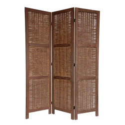 Oriental Unlimited - 6 ft. Tall Bamboo Matchstick Woven Room Divider (4 Panels / Burnt Brown) - Finish: 4 Panels / Burnt Brown. Elements of both traditional and tropical furniture design. Attractive woven rattan look plant fiber allows air to flow. 2 Horizontal members reinforce the strength of each panel. Beautiful double sided design looks great front & back. The simple, classic lines are attractive to look at and compliment modern, contemporary American eclectic home decor. 3-Panels. Shown in Burnt Brown. 17.25 in. W x 67 in. H (per panel)There is an ancient appeal to rattan style woven plant fiber, and this new design room divider takes full advantage. The panels are built for beauty and for strength, with two cross members dividing each panel into three sections. A high quality room divider with a lovely rustic, tropical look.