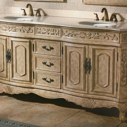 James Martin Furniture - 72 in. Bathroom Double Vanity in Cream Finish - Faucet not included. 3.25 inch height backsplash. Creme marble top. Finished and sealed to prevent stains and water marks. Four doors. Multi layer 12 step hand glaze finish to prevent pealing, cracking, fading. Made from solid cherry grade A wood. 72 in. W x 22.75 in. D x 36.25 in. H