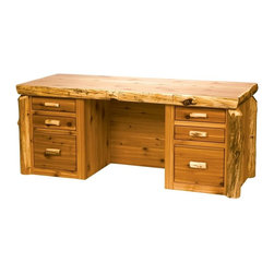 Fireside Lodge Furniture - Cedar Executive Log Desk in Lacquer Finish (L - Finish: Liquid GlassCedar Collection. 6 Drawers. Dovetailed drawers are inset for added beauty and quality. Full-extension ball-bearing glides rated at 100 lbs.. Client Overhang on backside of desk. Bottom drawers are set up for hanging file folders for either legal or letter folders. Northern White Cedar logs are hand peeled to accentuate their natural character and beauty. Clear coat catalyzed lacquer finish for extra durability. 2-Year limited warranty. 72 in. W x 36 in. D x 30 in. H (200 lbs.)