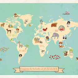 "Rebecca Peragine Inc / Children Inspire Design - Global Compassion World Map 24x18 Wall Art Poster + DIY Wooden Frame Kit - The whimsical and modern 24x18"" global World Map depicts animals and children from around the world creating a stylish approach to teaching kids about the Earth through nursery or playroom artwork."