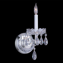 Crystorama - Crystorama 1031-CH-CL-SAQ Traditional Crystal 1 Light Wall Sconces - Traditional crystal pieces are classic, timeless, and elegant. Crystorama's opulent glass arm chandeliers are nothing short of spectacular. This collection is offered in a variety of crystal grades to fit any budget. For a touch of class, order this collection in Gold for traditionalists or in Chrome to match your contemporary or transitional decor.