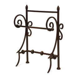 Imax Worldwide Home - Iron Towel Holder - This Iron holder is a fancy way to display your paper or hand towels in the kitchen or bath. Kitchen Accessories. 16.25 in. H x 12.75 in. W x 7.25 in. D. Wrought Iron 100%