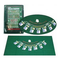 Trademark Global - 72 in. B2-Sided Layout (Green) - Color: GreenCan be easily attached to a homemade table. Can be used for either Blackjack or 21. Can be used as a folding Blackjack table for parties or other gatherings.  72 in. L x 36 in. W (2.20 lbs.)