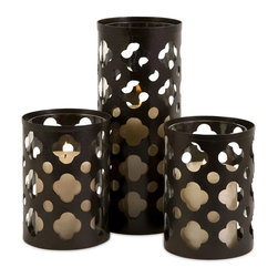 iMax - iMax Norte Cutwork Candle Holders, Set of 3 X-3-73365 - Traditional iron cutwork, set of three, candle holders. Single tall holder with a pair of shorter holders Holds pillar candles.