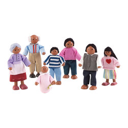 "KidKraft - Kidkraft Kids Pretend Play Imaginative Toy Doll Family Of 7 - African American - This adorable Doll Family makes a perfect gift for any young girl who enjoys playing with dollhouses. The family is made up of a mom, a dad, a son, a daughter, a baby and two grandparents. Dimension: 3.25"" W x 8.25"" L x 6.25"" H"
