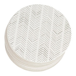 Ruff House Art - Herringbone Letterpress Paper Coasters - The Herringbone Letterpress Paper Coaster Set is the perfect bar accent for your wedding or bridal shower event. The Herringbone Pattern is a great pattern for any event or theme. Give them as a gift for the couple. Use them as favors or bar accents at your wedding. Not getting married, these make a great addition to any home decor as well. Simple, Causal, Trendy. These coasters would mix into any decor perfectly!