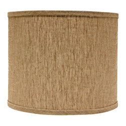"Lamps Plus - Contemporary Raffia Linen Drum Lamp Shade 16x16x13 (Spider) - An easy and stylish way to give any room an instant uplift this brown lamp shade features a cotton exterior. A polystyrene lining provides durable and long-lasting construction. A chrome spider fitter completes the look. The correct size harp is included. Large drum lamp shade. Solid raffia brown design. Hardback shade design. Chrome spider fitter. Cotton material. Unlined. 1/2"" fitter drop. 16"" across the top and bottom. 13"" high. Made in USA.  Large drum lamp shade.  Solid raffia brown design.  Hardback shade design.  Chrome spider fitter.  Cotton material.  Unlined.  Made in USA.  1/2"" fitter drop.  16"" across the top and bottom.  13"" high."