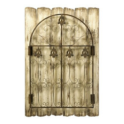 Fleur de Lis Cottage Chic Iron Garden Gate - *This fabulous wall piece features twisted iron scrollwork embellished with fleur-de-lis over antiqued ivory painted panels.