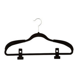 Honey Can DO - Slimline Velvet Hanger Kit with Clips, Black, Set of 36 - Our 36-piece wardrobe hanging kit has everything you need to keep your clothes organized and wrinkle-free. Includes 20-velvet touch suit hangers, eight velvet touch clips and four sets of velvet touch shoulder savers.