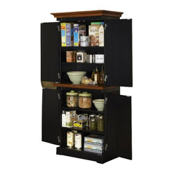 Home Styles - Home Styles Monarch Pantry in Black and Oak - Home Styles - Pantry - 500865 -The Monarch Pantry by Home Styles blends upscale design with functionality. This stylish pantry blends hardwood solids and engineered woods with an affluent black and nine-step distressed oak finish.