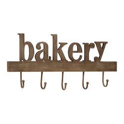 Alluring and Unique Styled Wood Metal Bakery Wall Hook - Description: