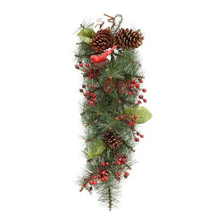 Home Decorators Collection - Red Berry and Cardinal Swag - Add holiday cheer this season with the perfectly accented Red Berry and Cardinal Swag. With pinecones, red berry accents and finished with a red cardinal, this holiday swag is a festive display to add to any wall or door. Will last year after year. Makes a festive display.