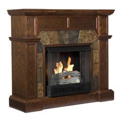 Holly & Martin - Cartwright 45.5 in. Gel Fireplace - Includes metal firebox, cement log, faux coal cinder and screen kit. Fuel not included. Ventless. Sleek columns on either side. Crown molding. Supplements heat to save on energy consumption. FireGlo gel fuel snaps and crackles like real wood. Emits no smoke, odor and ash. Holds upto 3 cans of gel fuel simultaneously for full bodied 6 - 8 in. flame. Each can of FireGlo produces upto 3000 BTU. Metal firebox withstands more than 9000 BTUs to safely handle gel fuel. Mantel supports upto 85 lbs.. Accommodates upto 47 in. flat screen TV. Made from poplar, resin, veneer and MDF. Assembly required. Corner: 45.5 in. W x 26.5 in. D x 40.25 in. H (112 lbs.). Flat wall: 45.5 in. W x 15.5 in. D x 40.25 in. H (112 lbs.)None of the mess of a wood burning fireplace. This fireplace features a fabulous espresso hue that is accented with decorative earth tone tiles that arch over the firebox. This particular fireplace is designed with the capability of fitting against a flat wall or in a corner with ease. Requiring no electrician or contractor for installation allows instant remodeling without the usual mess or expense. In addition to your living room or bedroom, try moving this fireplace to your dining room for a romantic dinner or complement you media room with a ventless fireplace below your flat screen television. Use this great functional fireplace to make your home a more welcoming environment.