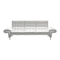 VIG Furniture - Ivan Full White Top Grain Italian Leather Sectional Sofa - The Ivan sectional sofa will add a elegant modern touch to any decor it's placed in. This sectional comes fully upholstered in a beautiful white top grain Italian leather. High density foam is placed within the cushions for added comfort. The sofa features a stylish tufted design that adds to the overall look. Attached to the bottom are stainless steel leg supports with a polished finish.