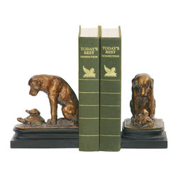 Sterling Industries - Sterling Industries 91-1452 Sterling Pair Turtle & Labrador Retriever Bookends - This Pair Of Decorative Bookends From Sterling Captures What Could Be A Norman Rockwell Scene. A Labrador Dog Is Seemingly Deep In Thought, Curious As He Hovers Over A Pair Of Turtles Watching As They Move Slowly Along Their Path. These Bookends Are A Great Gift For The Animal Lover. Painted In A Bronze Finish And Wood Tone. Measures 11 Inches Long X 4 Inches Wide X 6 Inches High.  Bookend (2)