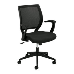 Hon - Basyx HVL521 Mesh Back Work Chair - Need to vent about your latest business pressures? Start with your back. This seat features a breathable, body-contouring mesh back and padded seat that raises or lowers to fit you best. What's even cooler? It tilts, swivels and rolls so you can keep moving through whatever life — or your annoying co-worker — hands you.