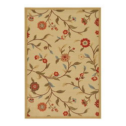 None - Beige Floral Garden Design Non-skid Area Rug (5'0 x 6'6) - Add charm to any space with this beautiful area rug. With its floral design,this contemporary rug will enhance the decor of your home or office.