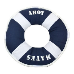 Handcrafted Nautical Decor - Blue Ahoy Mates Pillow 14'' - This charming Blue Ahoy Mates Pillow 14'' combines the     atmosphere of beach decor along with a life ring as a beach throw pillow. This beach pillow is the perfect accent to spruce up  your beach home. Place this lifering pillow in   your home to show   guests  your affinity for beach  decor.--Dimensions: 14'Long x 3'Wide x 14'High----    Handcrafted by our master artisans--    Pillow clearly displays the words ''Ahoy Mates''--    Perfect nautical blue color used to accent beach theme throw pillow--    Wonderful beach throw pillow - in the shape of a lifering and is wrapped in rope--    --