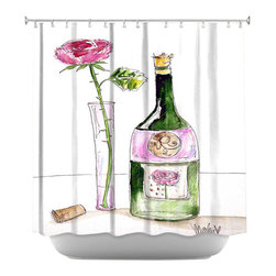 DiaNoche Designs - Shower Curtain Artistic - Rose Wine - DiaNoche Designs works with artists from around the world to bring unique, artistic products to decorate all aspects of your home.  Our designer Shower Curtains will be the talk of every guest to visit your bathroom!  Our Shower Curtains have Sewn reinforced holes for curtain rings, Shower Curtain Rings Not Included.  Dye Sublimation printing adheres the ink to the material for long life and durability. Machine Wash upon arrival for maximum softness. Made in USA.  Shower Curtain Rings Not Included.