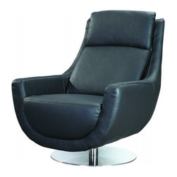 White Line Imports - Germany Swivel Chair in Black Leather - Update the style of modern living in your home interior and make it more cozy and tranquil with the Germany swivel chair by White Line Imports. The chair stands on flat stainless steel base and features soft seat cushion, arms and padded backrest in Black leather.