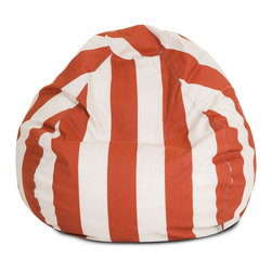 Majestic Home - Outdoor Burnt Orange Vertical Stripe Small Bean Bag - A great addition to any family room, playroom or outdoor seating arrangement, the Majestic Home Goods Small Bean Bag allows your child to read or watch a favorite show in the utmost comfort. Generously filled with eco-friendly polystyrene beads, this chair easily forms to your child's body for an ergonomic lounging experience. This bean bag has an outdoor treated polyester slipcover, with up to 1000 hours of U.V. protection that zips off for easy cleaning.