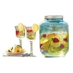 """Home Essentials - Blue Yorkshire Mason Jar Drink Dispenser - Add a bit of southern charm to your outdoor or indoor party with this blue mason jar beverage server. Invoking a classic sense of tradition, This mason drink dispenser showcases 2 gallons of you favorite cocktail or iced tea, lemonade and apple cider. Featuring a high quality glass construction, easy pour spout and screw top metal lid, this sun tea beverage server will keep your get together organized.  * Dimension:12.5""""H x 7.5""""in diameter * 2 Gallon Capacity * Available in Clear"""